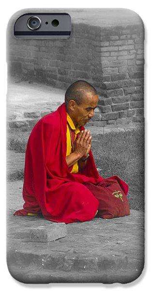 Tibetan Buddhism iPhone Cases - Tibetan Buddhist Monk Meditates iPhone Case by Justin Woodhouse