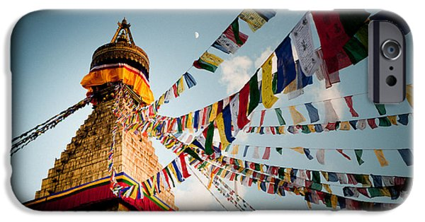 Tibetan Buddhism iPhone Cases - Tibetan Buddhist Prayer Flags stupa Boudnath iPhone Case by Raimond Klavins
