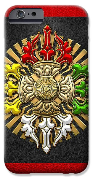 Tibetan Buddhism iPhone Cases - Tibetan Double Dorje Mandala - Double Vajra on Black and Red iPhone Case by Serge Averbukh