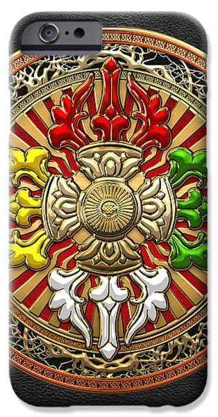 Tibetan Buddhism iPhone Cases - Tibetan Double Dorje Mandala - Double Vajra on Black Leather iPhone Case by Serge Averbukh