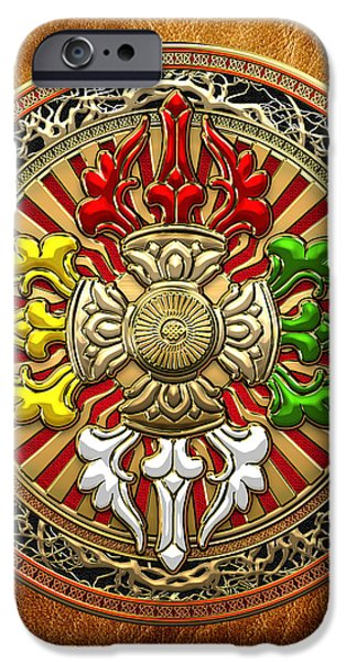 Tibetan Buddhism iPhone Cases - Tibetan Double Dorje Mandala - Double Vajra on Brown Leather iPhone Case by Serge Averbukh