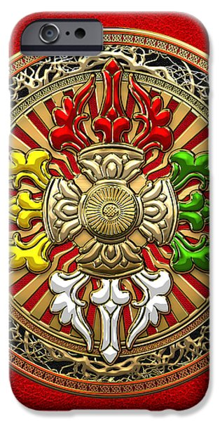 Tibetan Buddhism iPhone Cases - Tibetan Double Dorje Mandala - Double Vajra on Red Leather iPhone Case by Serge Averbukh