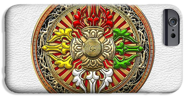 Tibetan Buddhism iPhone Cases - Tibetan Double Dorje Mandala - Double Vajra on White Leather iPhone Case by Serge Averbukh