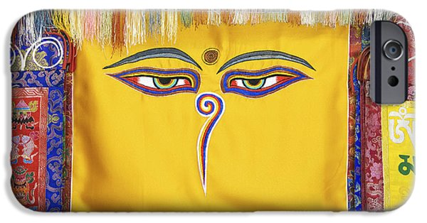 Buddhism iPhone Cases - Tibetan Eyes iPhone Case by Tim Gainey