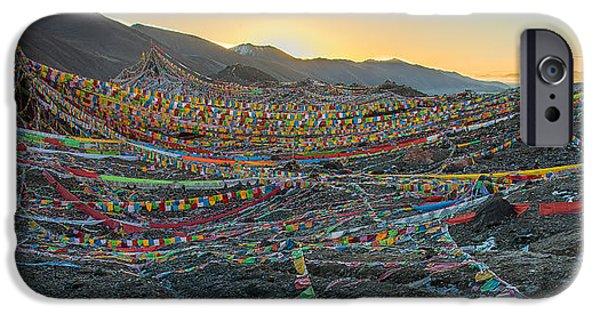 Tibetan Buddhism iPhone Cases - Tibetan Flag Sunrise iPhone Case by James Wheeler