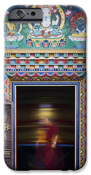 Tibetan Buddhism iPhone Cases - Tibetan Monk and the Prayer Wheel iPhone Case by Tim Gainey