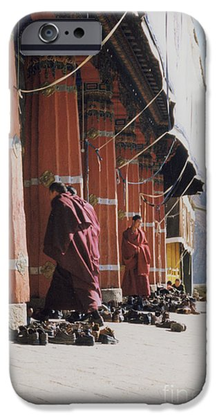 Tibetan Buddhism iPhone Cases - Tibetan Monks at Sera iPhone Case by First Star Art