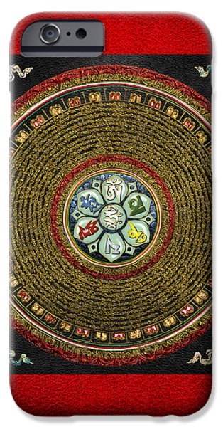 Tibetan Buddhism iPhone Cases - Tibetan OM Mantra Mandala in Gold on Black and Red iPhone Case by Serge Averbukh