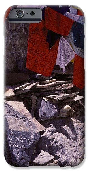 Tibetan Buddhism iPhone Cases - Tibetan Prayer Flags Behind the Potala Palace iPhone Case by Anna Lisa Yoder