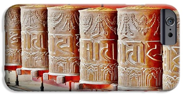 Tibetan Buddhism iPhone Cases - Tibetan Prayer Wheels iPhone Case by Kim Bemis