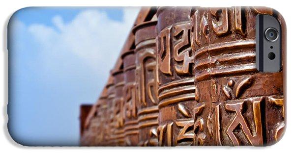 Tibetan Buddhism iPhone Cases - Tibetan Prayer Wheels iPhone Case by Nila Newsom