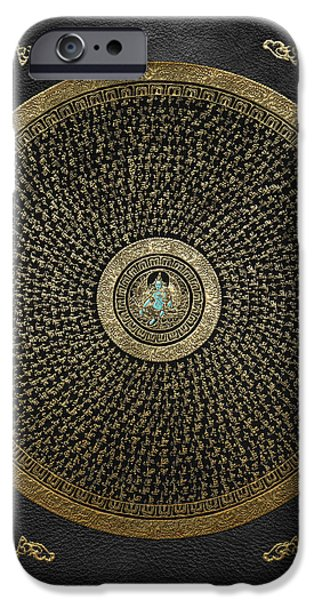 Tibetan Buddhism iPhone Cases - Tibetan Thangka - Green Tara Goddess Mandala with Mantra in Gold on Black iPhone Case by Serge Averbukh
