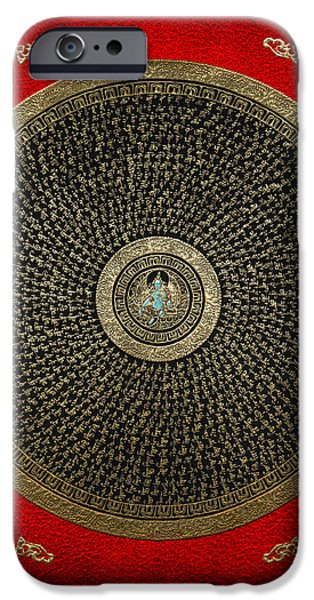 Tibetan Buddhism iPhone Cases - Tibetan Thangka - Green Tara Goddess Mandala with Mantra in Gold on Red iPhone Case by Serge Averbukh