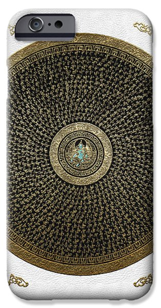 Tibetan Buddhism iPhone Cases - Tibetan Thangka - Green Tara Goddess Mandala with Mantra in Gold on White iPhone Case by Serge Averbukh