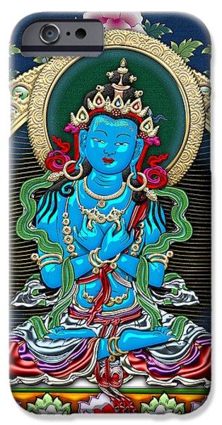 Best Sellers -  - Tibetan Buddhism iPhone Cases - Tibetan Thangka  - Vajradhara -  Dharmakaya Buddha iPhone Case by Serge Averbukh