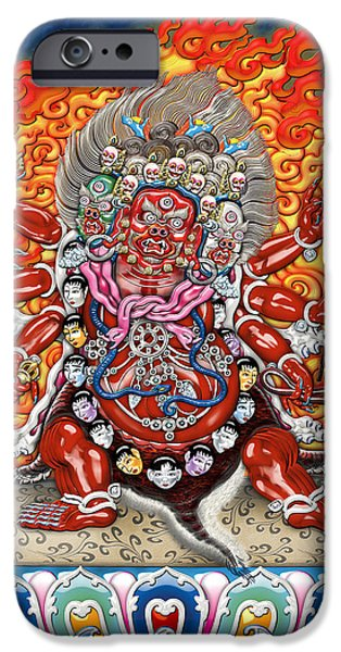 Tibetan Buddhism iPhone Cases - Tibetan Thangka  - Wrathful Deity Hayagriva iPhone Case by Serge Averbukh