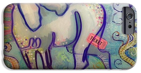 Unicorn Art iPhone Cases - Ticket to Anywhere iPhone Case by Kimberly Santini