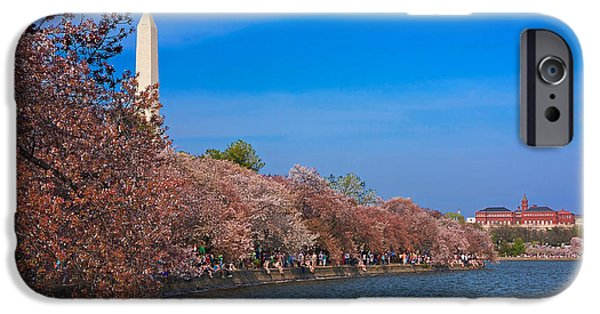 Smithsonian iPhone Cases - Tidal Basin Cherry Blossoms iPhone Case by Stuart Litoff