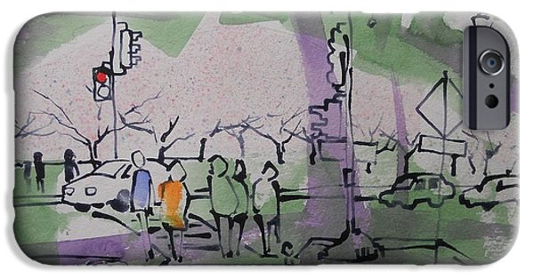 Cherry Blossoms Drawings iPhone Cases - Tidal Basin Cherry Walk iPhone Case by Larry Lerew