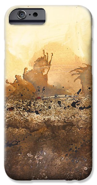 Abstract Digital Paintings iPhone Cases - Tidal Sunrise Panel 3 iPhone Case by Craig Tinder