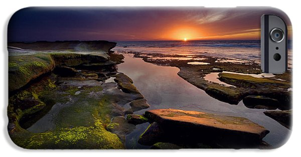 Beach Landscape iPhone Cases - Tidepool Sunsets iPhone Case by Peter Tellone