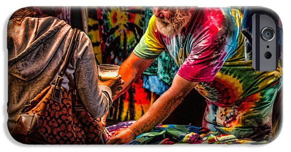 Psychedelic Photographs iPhone Cases - Tie Dye Guy iPhone Case by Bob Orsillo