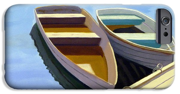 Bouys Paintings iPhone Cases - Tied Up at the Dock 2 iPhone Case by JJ Long