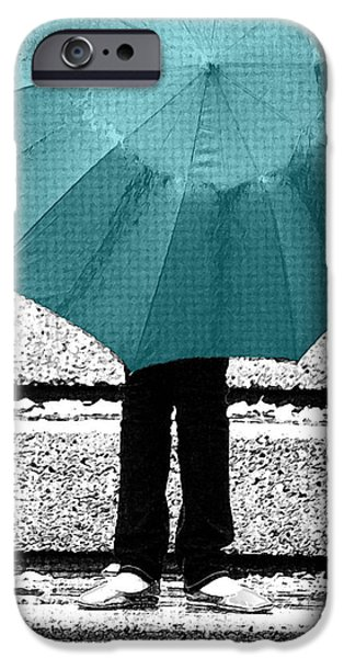 Tiffany Blue Umbrella iPhone Case by Lisa Knechtel