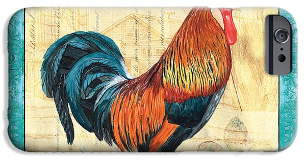 Aviary iPhone Cases - Tiffany Rooster 1 iPhone Case by Debbie DeWitt