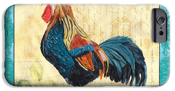 Aviary iPhone Cases - Tiffany Rooster 2 iPhone Case by Debbie DeWitt