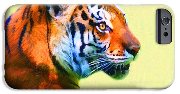 Tiger Digital Art iPhone Cases - Tiger . 7D2058 . Painterly iPhone Case by Wingsdomain Art and Photography