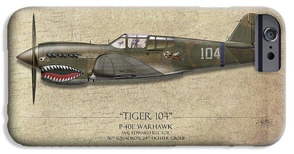 Warhawk iPhone Cases - Tiger 104 P-40 Warhawk - Map Background iPhone Case by Craig Tinder
