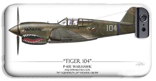 Warhawk iPhone Cases - Tiger 104 P-40 Warhawk - White Background iPhone Case by Craig Tinder