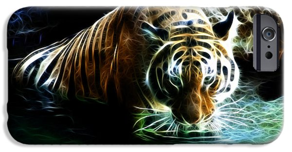 Tiger Fractal iPhone Cases - Tiger 3838 - F iPhone Case by James Ahn