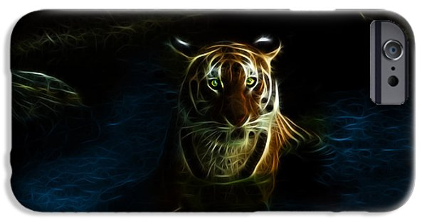 Tiger Fractal iPhone Cases - Tiger 3860 - F iPhone Case by James Ahn