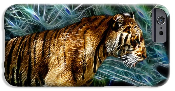 Tiger Fractal iPhone Cases - Tiger 3921 - F iPhone Case by James Ahn