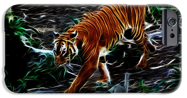 Tiger Fractal iPhone Cases - Tiger 4217 - F iPhone Case by James Ahn