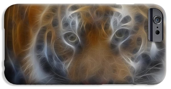 Tiger Fractal iPhone Cases - Tiger-5316-Fractal iPhone Case by Gary Gingrich Galleries