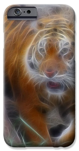 Tiger Fractal iPhone Cases - Tiger-5362-Fractal iPhone Case by Gary Gingrich Galleries