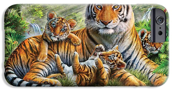 Bravery iPhone Cases - Tiger And Cubs iPhone Case by Adrian Chesterman