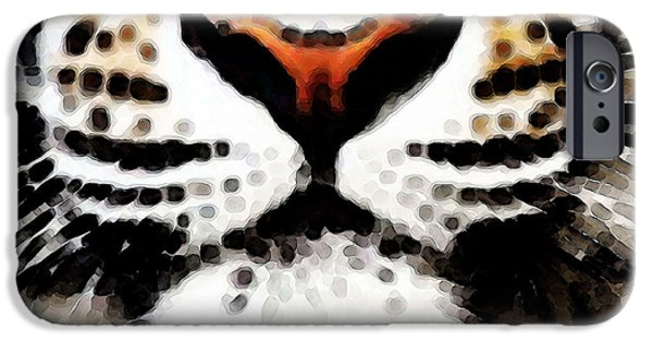 Zoo Animal iPhone Cases - Tiger Art - Burning Bright iPhone Case by Sharon Cummings