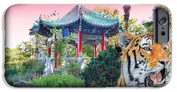 Beautiful Cat Drawings iPhone Cases - Tiger by a Chinese Pagoda iPhone Case by Jim Fitzpatrick