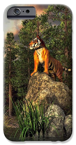 Mike The Tiger iPhone Cases - Tiger by the Lake iPhone Case by Daniel Eskridge