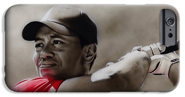Golf Paintings iPhone Cases - Tiger iPhone Case by Christian Chapman Art