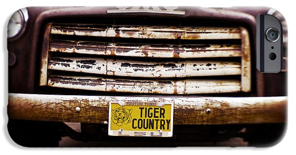 Old Truck iPhone Cases - Tiger Country - Purple and Old iPhone Case by Scott Pellegrin