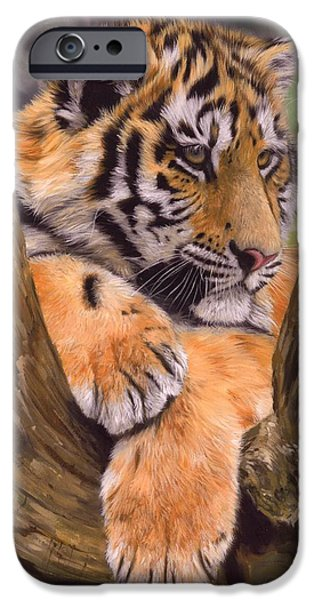 Tigers iPhone Cases - Tiger Cub Painting iPhone Case by David Stribbling