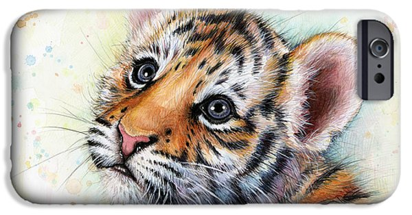Safari Prints iPhone Cases - Tiger Cub Watercolor Art iPhone Case by Olga Shvartsur