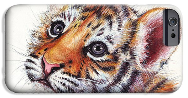 Wall Mixed Media iPhone Cases - Tiger Cub Watercolor Painting iPhone Case by Olga Shvartsur