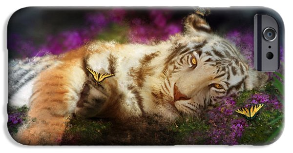 Fuschia iPhone Cases - Tiger Dreams iPhone Case by Aimee Stewart