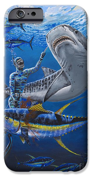 Marine iPhone Cases - Tiger Encounter iPhone Case by Carey Chen